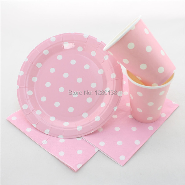 600 Sets Polka dot Party Paper Tableware for Weddding Christmas Supplies Disposable Pink Party Plates & 600 Sets Polka dot Party Paper Tableware for Weddding Christmas ...