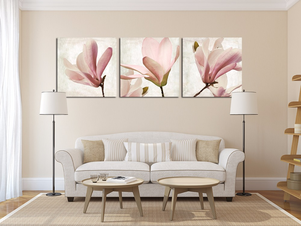 3Pcs Magnolia Flower High Resolution Canvas Art Giclee Prients Wall  Pictures For Living Room Unfamed In Painting U0026 Calligraphy From Home U0026  Garden On ... Part 24