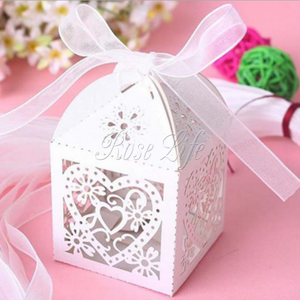 50Pcs/lot Heart Laser Cut Gift Candy Favour Boxes With Ribbon for ...