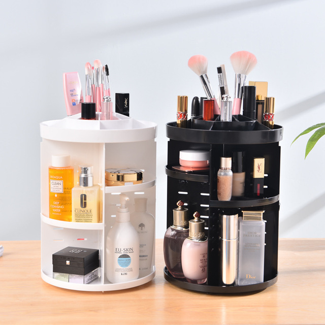 Extra Large Capacity 360 Degree Rotating Makeup Organizer Adjustable Multi-Function Cosmetics Storage Box