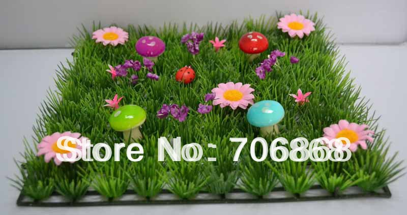 Pack of 2 Artificial plastic grass mat boxwood mat with colorful mushrooms wedding table runner fairy door supply-in Artificial u0026 Dried Flowers from Home ... & Pack of 2 Artificial plastic grass mat boxwood mat with colorful ...