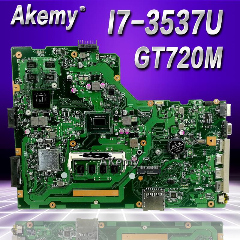 Akemy X75VC Laptop motherboard for ASUS X75VC X75VB X75VD X75V F75V Test original mainboard 4G RAM I7 3537U CPU GT720M