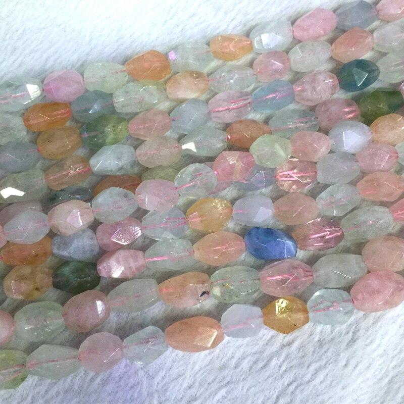 Multicolore vert rose bleu aigue-marine béryl Morganite coupe à la main pépite facettée forme libre pépite forme libre perles 05420