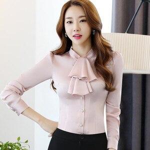Image 2 - Babados gola casual feminina blusa feminina elegante rosa fino ajuste camisa senhoras topos escritório novo estilo moda trabalho wear