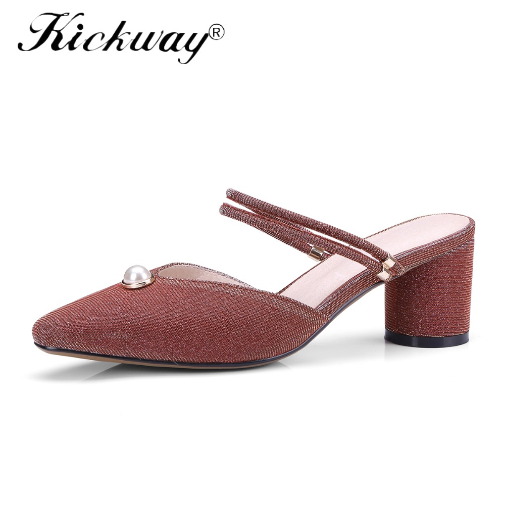 Kickway Women Sexy Med Heel Mules Clogs Black Pointed Toe Mules Ladies Leather Slippers Female Two Wearing Way Sandals Shoes women sexy high heel mules clogs pointed toe platform ladies leather sole slippers female slip on sandal shoes