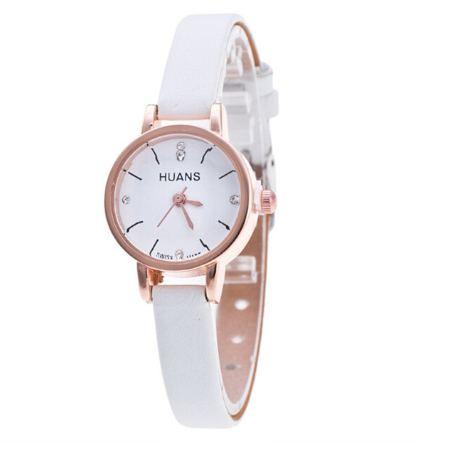Fashion Elegant Women Watches Waterproof Ladies Small Dial Leather Band Silver W