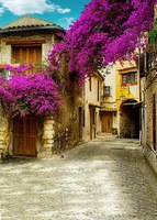 Photocall Blue Sky Photography Backdrops Purple Flowers House Photo Background For Photo Studio Fotografia Backgrounds S