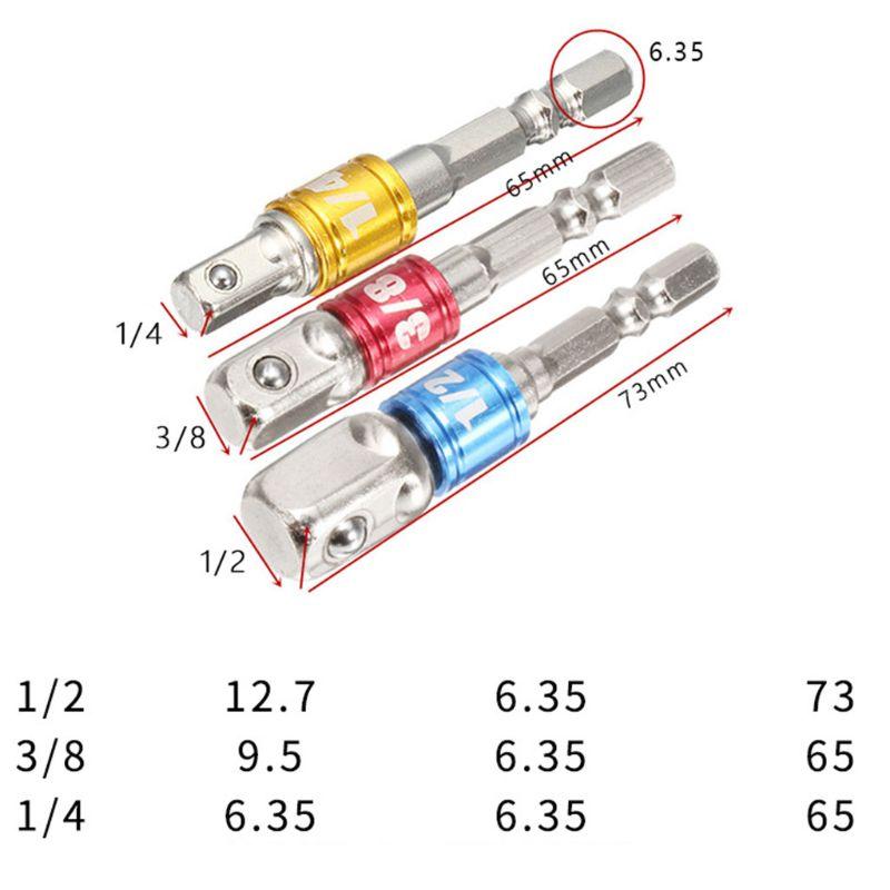 3pcs/set Socket Adapter Drill Bits Hex Shank Converter 1/4