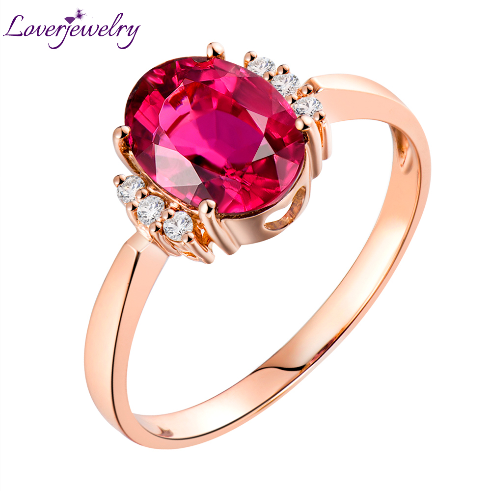 Loverjewelry 14 k Or Rose Diamant Naturel Rose Tourmaline Véritable Anneau de Pierre Gemme Bijoux De Mariage Parti Anneaux Pour Les Femmes Cadeau