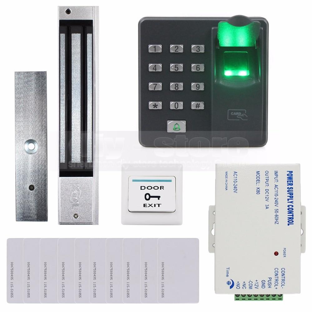 DIYSECUR Biometric Fingerprint RFID 125KHz Keypad Door Access Control System Kit + Electric Magnetic Lock diysecur biometric fingerprint rfid 125khz password keypad door access control system kit electric bolt lock