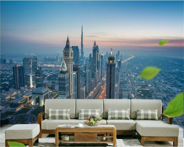 High Definition City Tall Buildings Decorative Painting Wallpaper