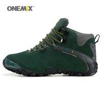 Onemix donne scarpe da trekking stivali invernali della signora antiscivolo outdoor neve sport della scarpa da tennis di lana caldo donna trekking autunno verde grigio