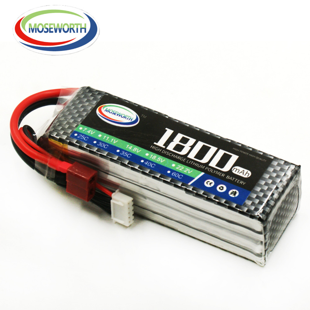MOSEWORTH 4S 14.8 V 1800 mah 35-70C RC LiPo Batterie pour Hélicoptère Quadrirotor Avion Voiture Li-ion