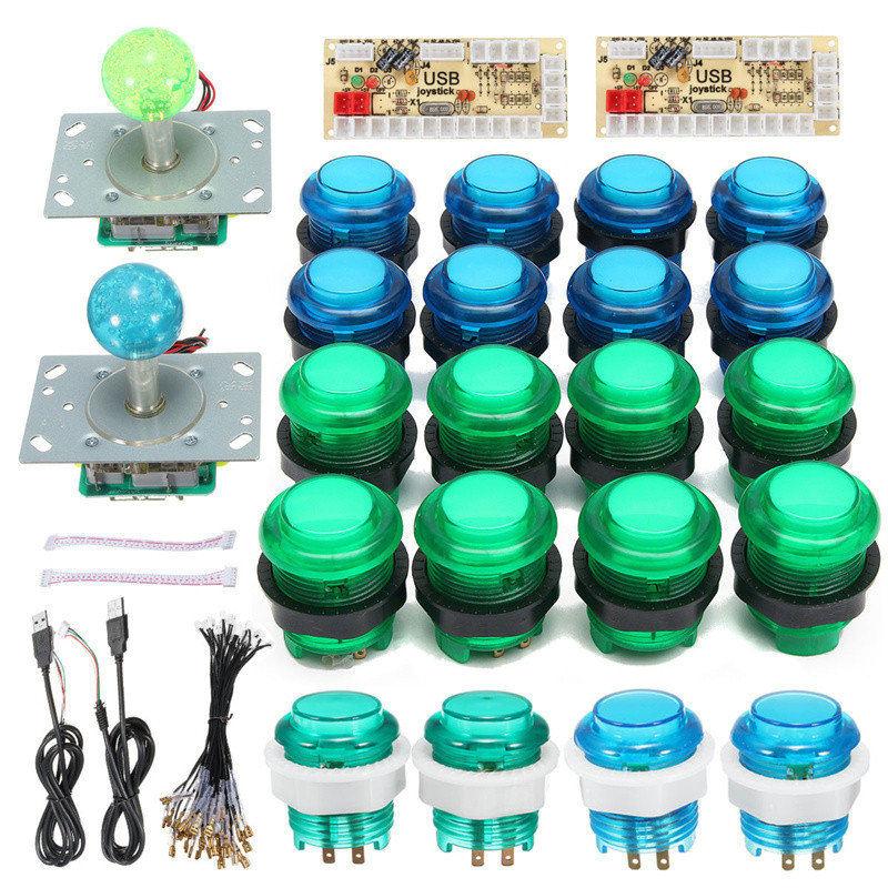 Arcade Game DIY Kit Joystick With USB Controller +2 Joysticks + 20 Arcade Push Button With LED + 2 Zero Delay Encoder Board