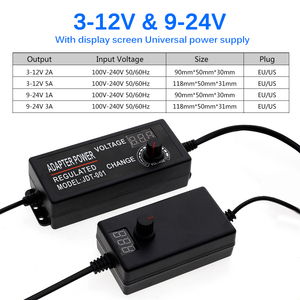 Image 3 - Adjustable AC To DC 3V 12V 9 24V Voltage Regulated Adapter With Display Screen Universal Power Supply Adapter For Led Strip