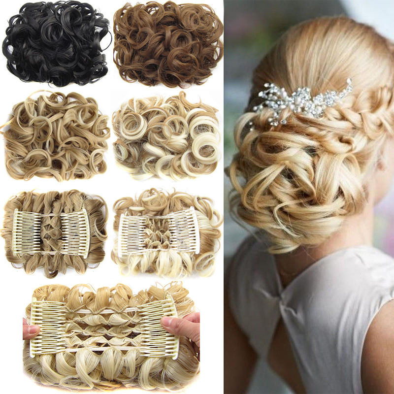 S noilite LARGE Comb Clip In Curly Synthetic Hair Pieces Chignon Updo Cover Hairpiece Extension Hair Bun-in Synthetic Chignon from Hair Extensions & Wigs on Aliexpress.com | Alibaba Group