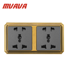MVAVA 86*90MM Double Multifunction Universal 5 Pin Wall Plug Socket Luxury Decorative Bronzed Series Outlet