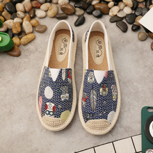 Ballerina Shoes 2019 New Printing Women Sewing Flax Shoes Slip on Loafers Casual Shoes Woman Espadrilles Hemp Canvas Flat Shoes e lov design printing canvas shoes nation flags of austria hand printed austriak austrian loafers shoes