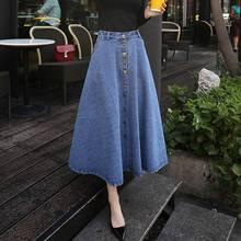 Long Denim Skirt Womens Jeans Saias A Line Casual Button Front Maxi Skirt With Pockets Women Summer Long Jean Skirt Woman faldas