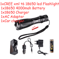high quality 3000 lm Cree LED Flashlight Tactical Waterproof Zoom Powerful Lamp Camping Torch 18650 Rechargeable Battery Kit