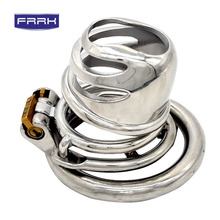 FRRK  metal chastity device cock cage male belt blinding penis sex toys for men