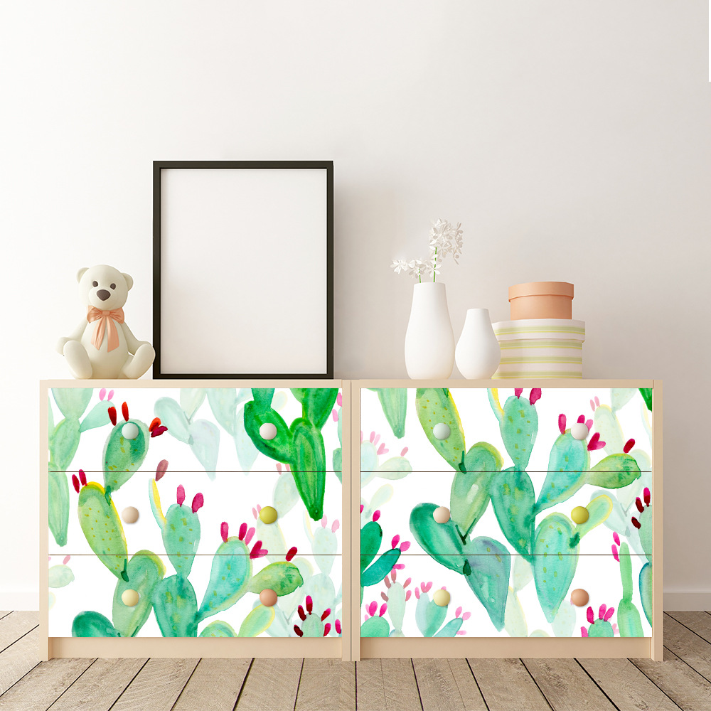 Modern Waterproof  Nordic Cactus Self Adhesive Wallpaper For Children Room Plant Wall Sticker For Furniture Home Decor
