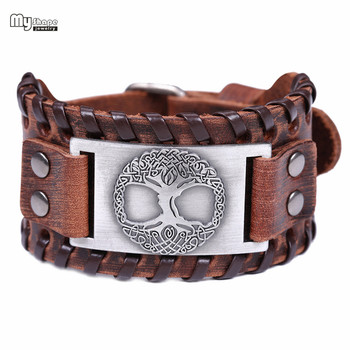 My Shape Tree of Life Vintage Wrap Leather Man Bracelets With Antique Bronze Metal Charm Viking Bracelet Jewelry 1