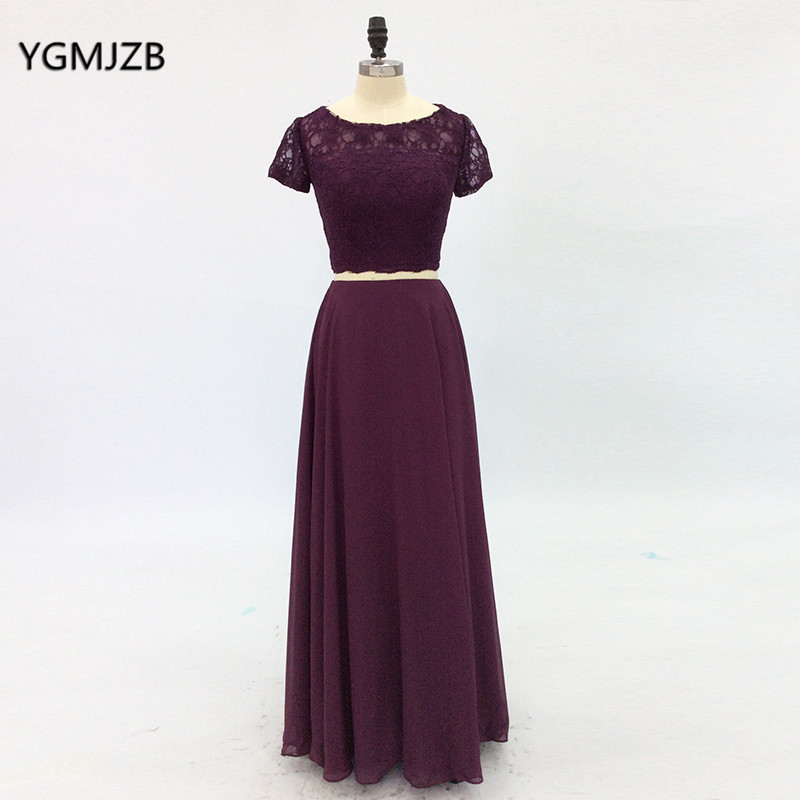 Two Piece   Prom     Dresses   Long 2018 A-Line Short Sleeves Lace Chiffon Purple Evening   Dresses   Women Formal   Prom   Gown robe de soiree