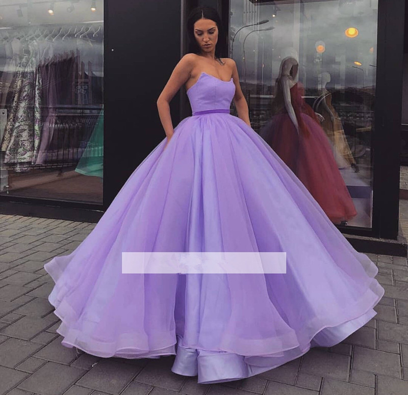 Lavender Puffy 2019 Cheap Quinceanera Dresses Ball Gown Sweetheart Floor Length Tulle Sweet 16 Dresses