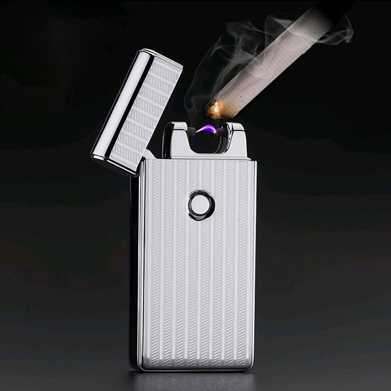 3s supply Electronic Cigarette Lighter Windproof Metal Pulsed Rechargeable USB Flameless Electric Arc Cigar Cigarette Lighter