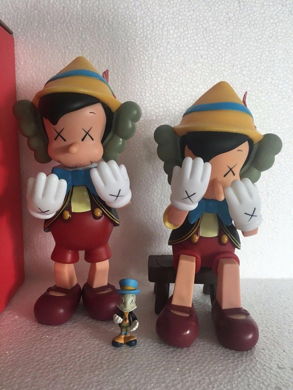 10 pouces et 8 pouces assis Pinocchio medicom toy kaws image réelle avec boite D'origine Haute Qualité Résine D'origine action