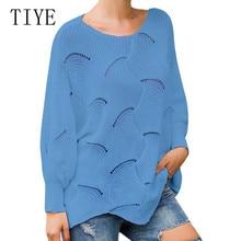 TIYE Korean Style High Elastic Fashion Women Autumn Knitted Pullovers Sweaters Elegant O-neck Long Sleeve Crochet Sexy Sweater