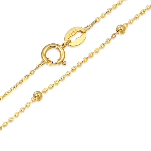 Solid 18k Yellow Gold Necklace Lucky Smooth Bead With O Chain Necklace 16.5inch 4
