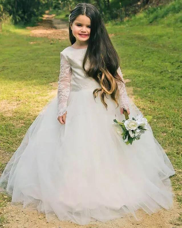 Ivory White Flower Girl Dresses for Wedding Princess Long Sleeves Lace V Back Tulle Vintage Child First Communion Dress vintage lace flower bowknot wedding dress with sleeves
