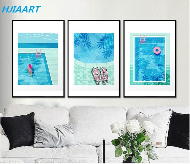 US $6.23 48% OFF|Abstract Pink Series Swimming Pool Canvas Paintings Poster  Wall Art Print Picture Decoration for Living Room Unframed-in Painting & ...