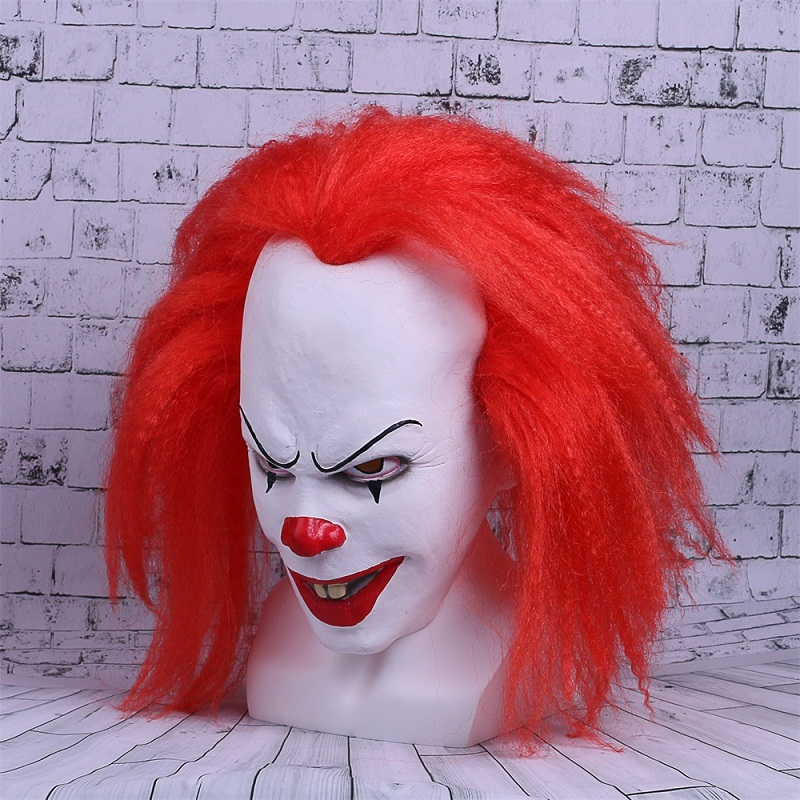 Movie Stephen King's It Mask Pennywise Mask Cosplay Masks Red Hair Clown Joker Halloween (3)