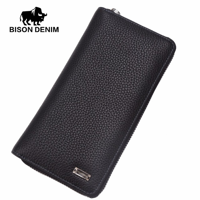 BISON DENIM 2016 Brand Designer Top Cowhide Leather Men's Long Wallet Clutch Wrist bag black wallets & purses card holder N8018