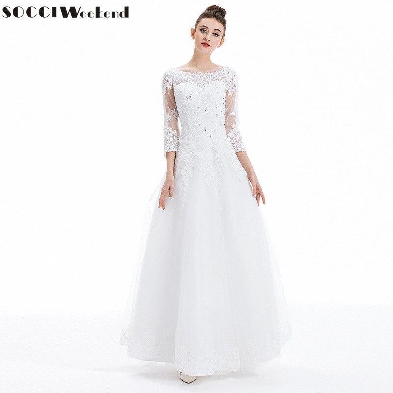 premium selection 7f49c e7381 US $65.85 11% di SCONTO|Abiti da sposa 2019 SOCCI Vestido De Noiva Francese  di Lusso di Tulle Del Merletto Vestito Da Sposa Nuovo Matrimonio Manica ...