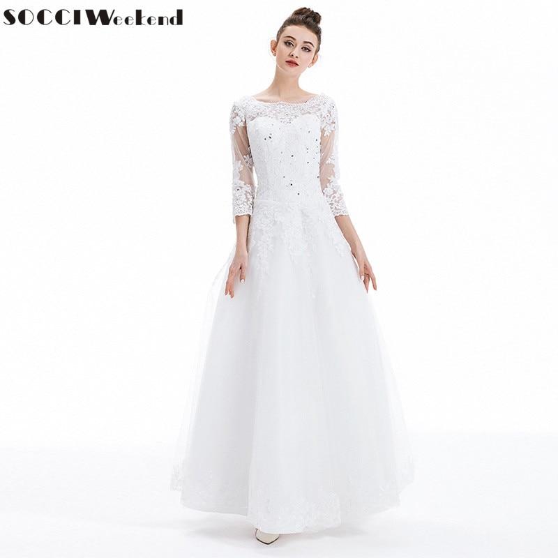 Bröllopsklänningar 2019 SOCCI Vestido De Noiva Lyxfranska Tulle Spetsar Brudklänning Ny Äktenskap Långärmad Vantage Brudklänningar