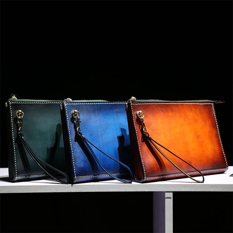Handmade Vintage Women Men Vegetable Tanned Leather Bag Money Holder Clutch Purse Pocket Man Clutches Cow Lerther Envelope luxury brand vintage handmade genuine vegetable tanned cow leather men women long zipper wallet purse wallets clutch bag for man