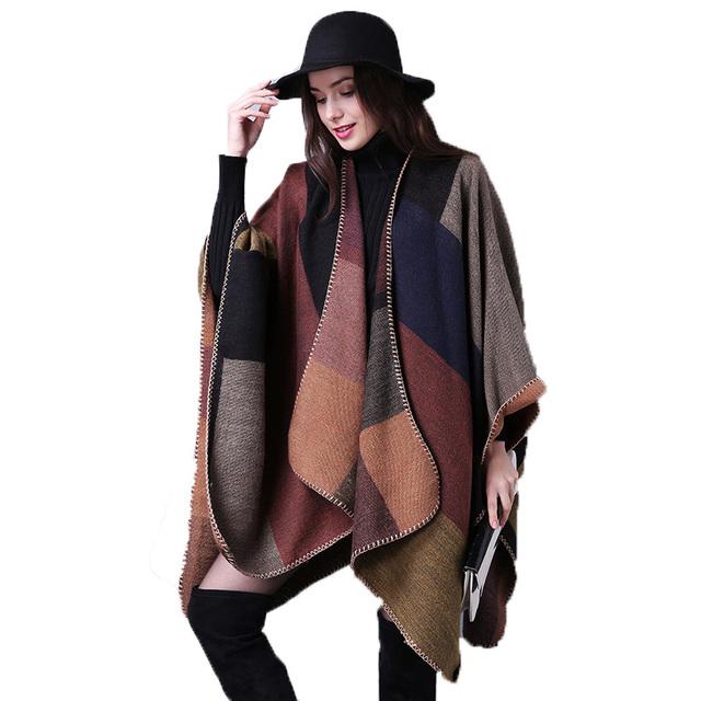 Colorblock Gigante Verificado Cobertor Capa Envoltório Das Mulheres de Grandes Dimensões Cachecol Inverno Pashmina Luxo Grosso Poncho Casaco Cobertor Capa Cardigan