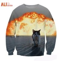 Alisister Cute Explosion Cat Sweatshirts 3d Printed Animal Graphic Hoodies High Quality Brand Tops Moleton Mujer