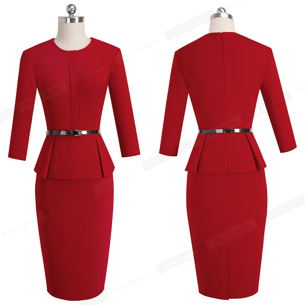 Nice-forever Vintage Elegant Wear to Work with Belt Peplum vestidos Business Party Bodycon Office Career Women Dress B473 13
