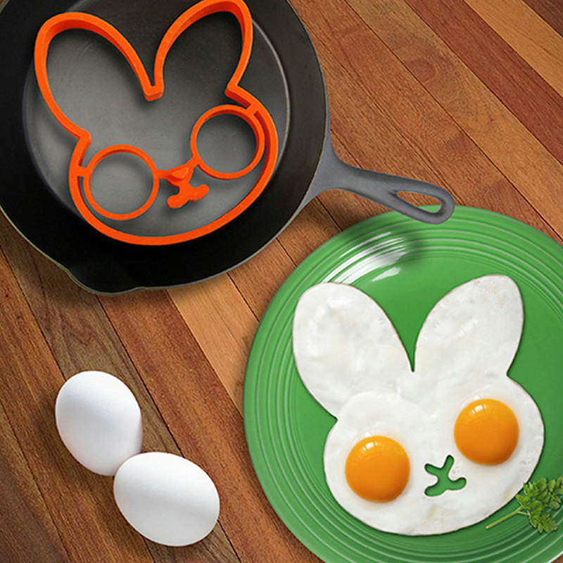 Silicone Bunny Cartoon Fried Fry Egg Frame Breakfast Mold Rabbit Shape Kitchen Tool Egg Pancake Rings For Kids Children
