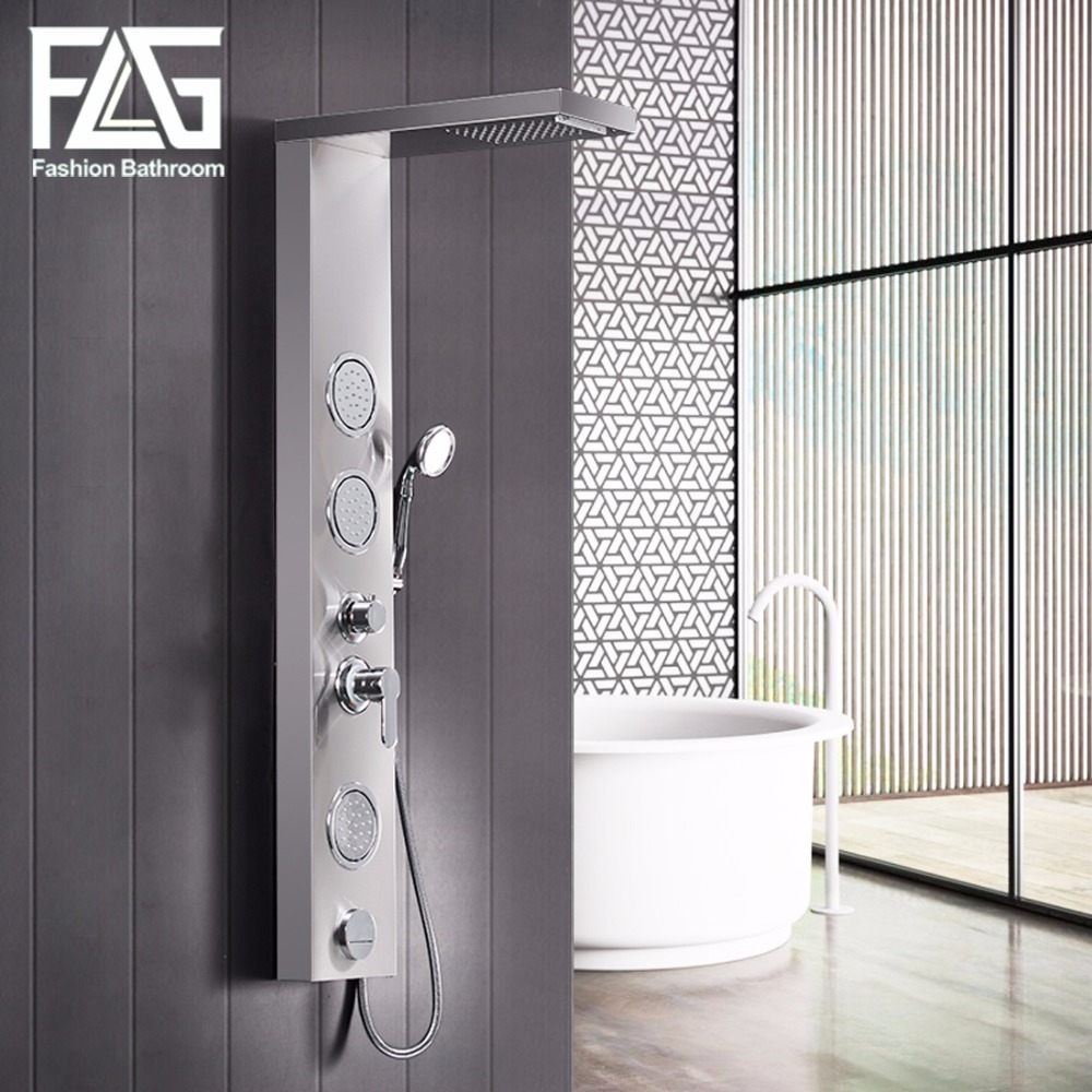 Stainless Steel Waterfall Rainfall Shower Panel Wall Mounted Bathroom Shower Faucet Shower Panel Column Towel Shower Tub Tap Shower Faucets