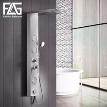 FLG Bathroom Shower Panel Wall Mounted Massage System Faucet Column Multifunction with Jets Hand  304 Stainless Steel