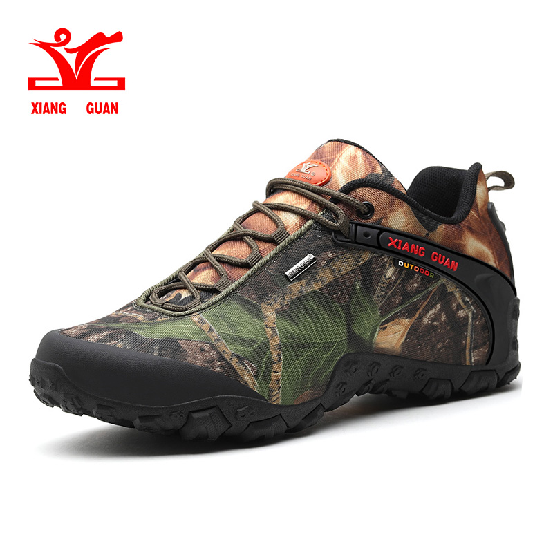 XIANG GUAN man outdoor windproof canvas hiking shoes low boots Anti skid Wear resistant breathable fish