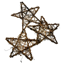 Family Garden Tree Top Decoration Of 3 Pieces Of 8 Inch Natural Color Wicker Vine Star Five-Pointed Star Natural Rattan Home D