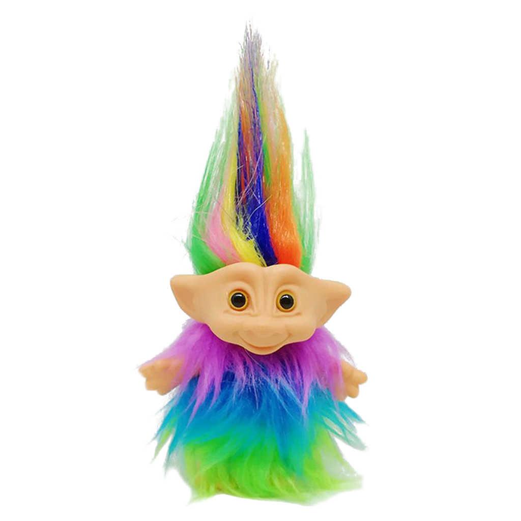 Dollhouse miniatura pelo colorido Troll muñeca Leprocauns figuras juguete pastel Toppers niños proyecto escolar