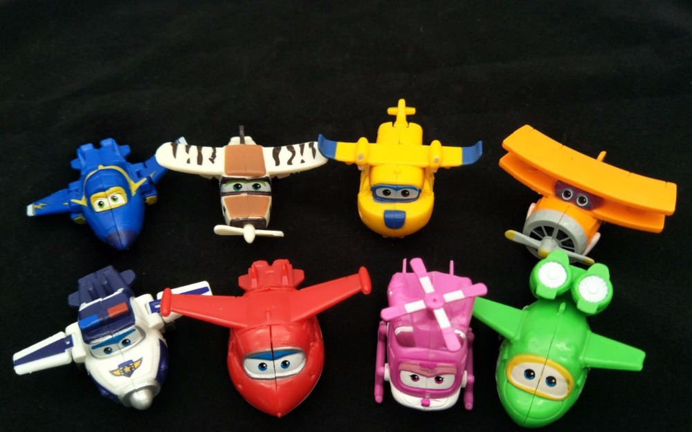 8PCS/Set Super Wings Mini Airplane ABS Robot toys Action Figures Super Wing Transformation Jet Cartoon Children Kids 8 pcs set super wings action figure toys mini airplane robot superwings transformation anime cartoon toys for children boys gift